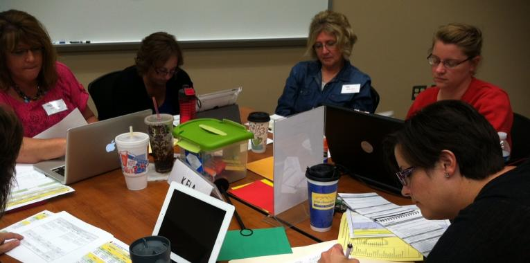 Kindergarten teachers from Montcalm and Ionia Counties work on deconstructing English Language Arts Standards.