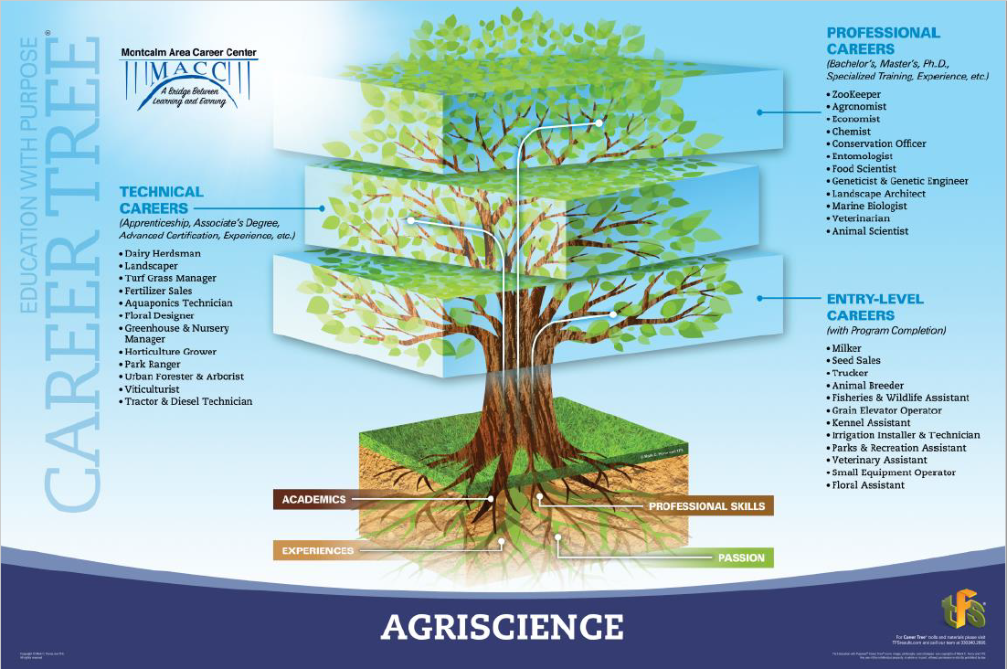 A picture of the agriscience career tree showing jobs in entry level, technical, and professional areas.