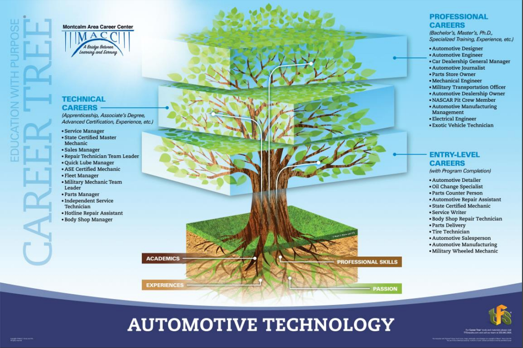 A picture of the auto tech career tree showing jobs in entry level, technical, and professional areas.