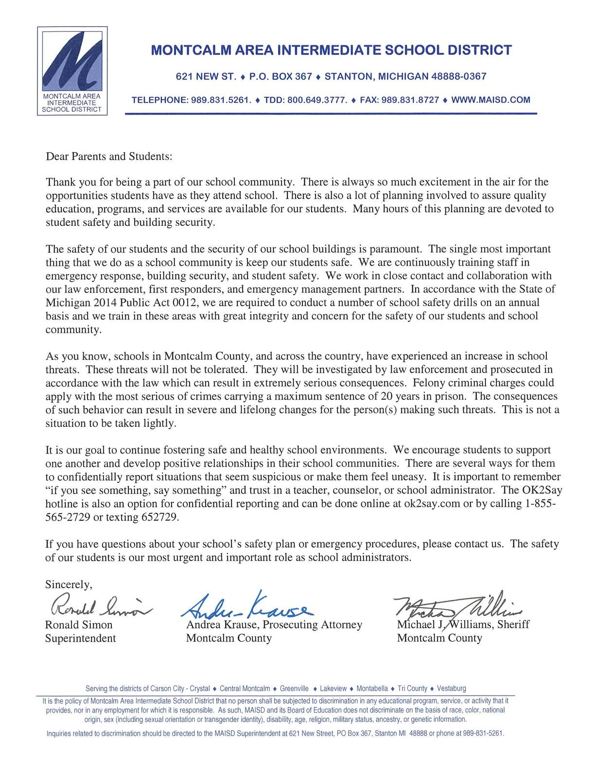 A letter to our community regarding student and building safety.