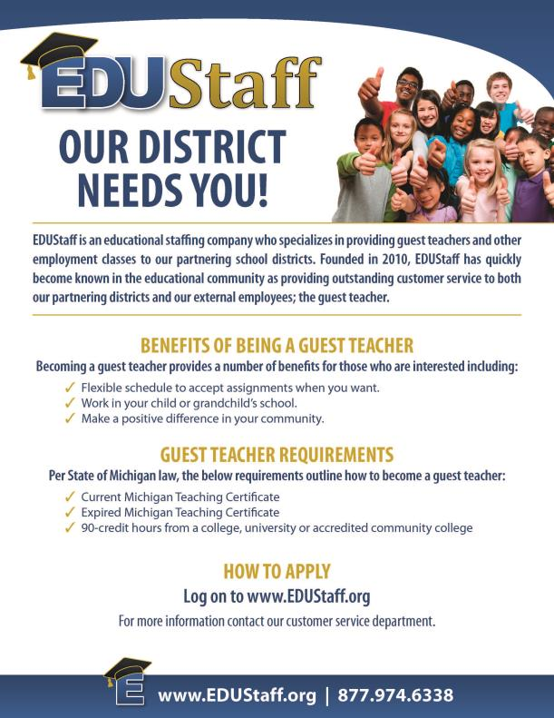 Poster for Edustaff that is advertising the need in Montcalm County for substitute teachers.