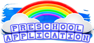 A picture of a rainbow with a link to access the preschool application.