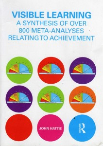 Cover photo of author John Hattie's book titled Visible Learning: A Synthesis of Over 800 Meta-Analyses Relating to Achievement