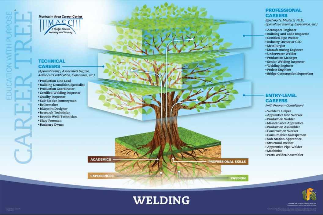 A picture of the welding career tree showing jobs in entry level, technical, and professional areas.