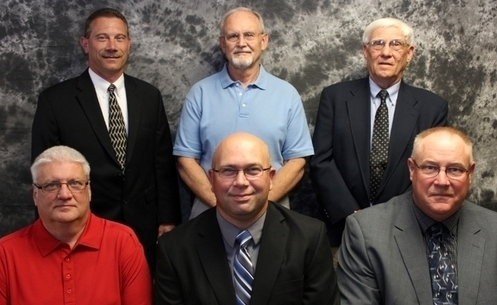 MAISD Board of Education 2016-17. Top row from left to right:  Superintendent Ron Simon, Board President Steve Foster, Bud Longnecker. Bottom row from left to right: Kurt Peasley, Brian Corwin, Mark Christensen.